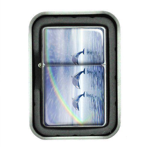 Windproof Oil Lighter w/ Gift Box Dolphins Design 01 Cetacean Mammal Marine Life