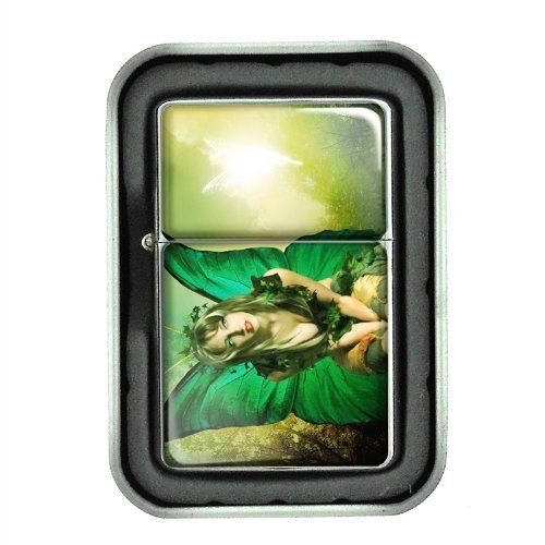 Windproof Oil Lighter with Gift Box Fairies Design 05 Celtic Mystical Creature