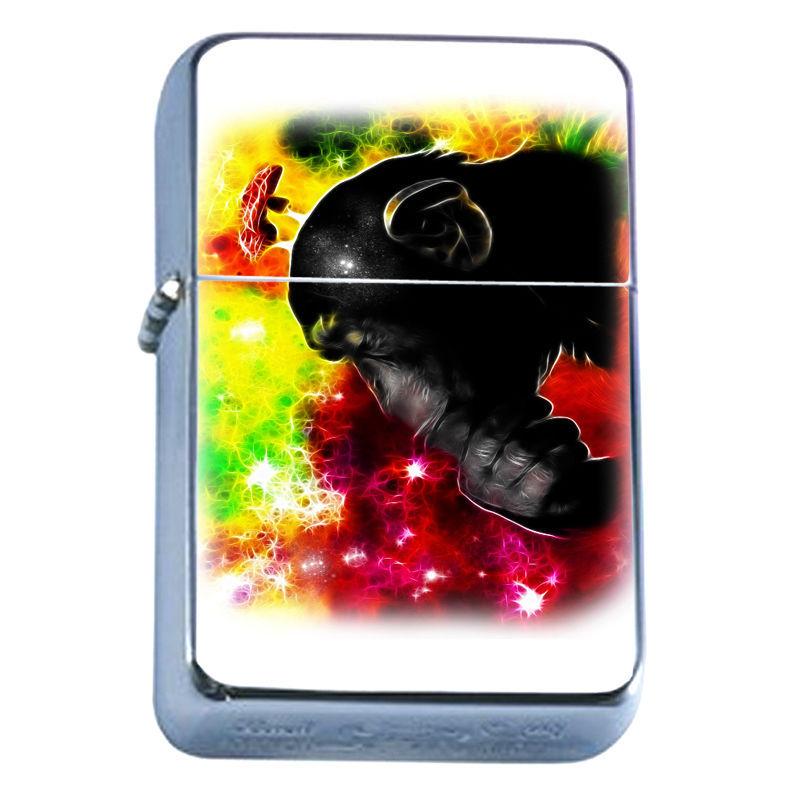Windproof Refillable Flip Top Oil Lighter Ape D2 Monkey Hominid Animal Kingdom