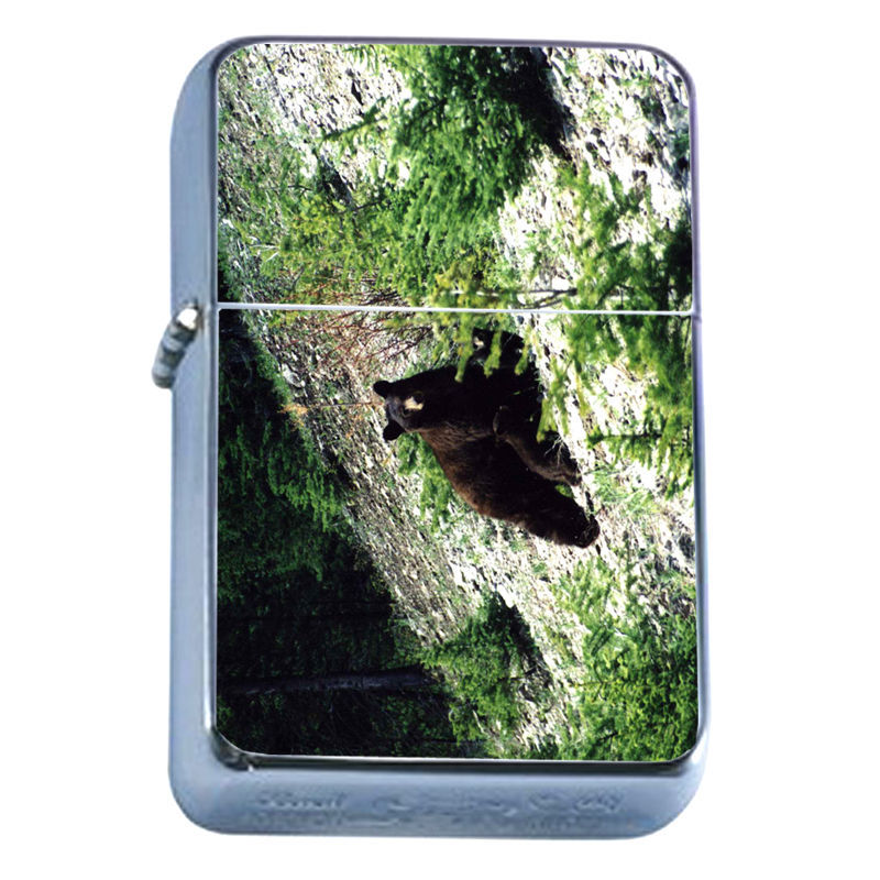 Windproof Refillable Flip Top Oil Lighter Bears D2 Nature Grizzly Forest Wild