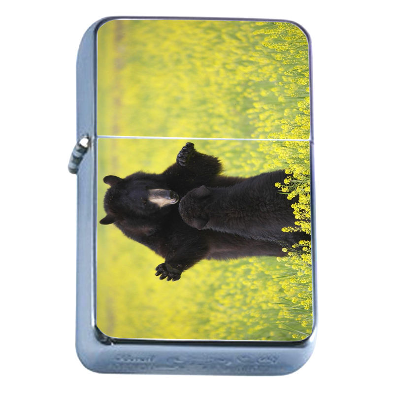 Windproof Refillable Flip Top Oil Lighter Bears D9 Nature Grizzly Forest Wild