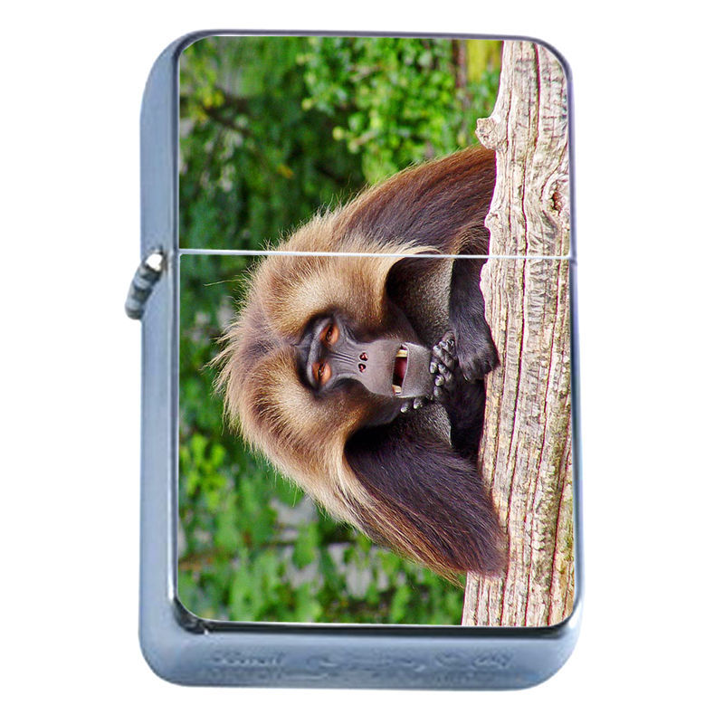 Windproof Refillable Flip Top Oil Lighter Baboon D4 Monkey Ape Primate Africa