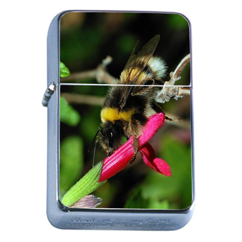 Windproof Refillable Flip Top Oil Lighter Bee D1 Honey Swarm Bumblebee Insect