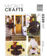McCall's 2329 Crashing Witch Ghost Black Cat Halloween Decor Pattern  - $12.99