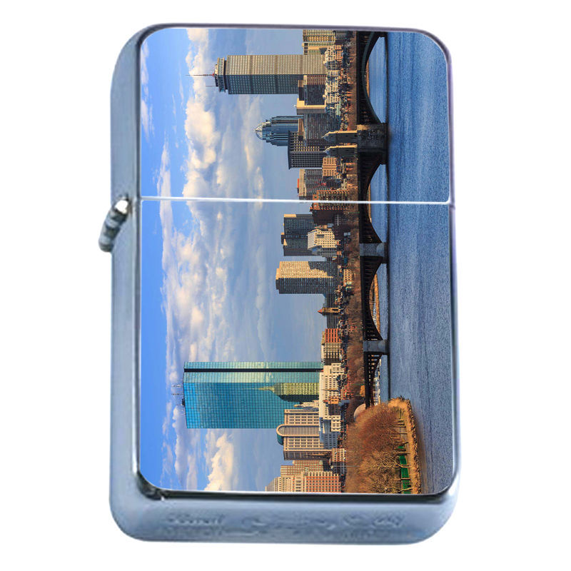 Windproof Refillable Flip Top Oil Lighter Boston D5 Massachuesetts City Capital