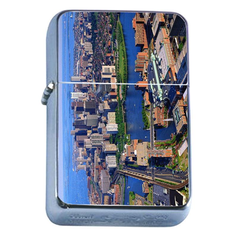Windproof Refillable Flip Top Oil Lighter Boston D3 Massachuesetts City Capital