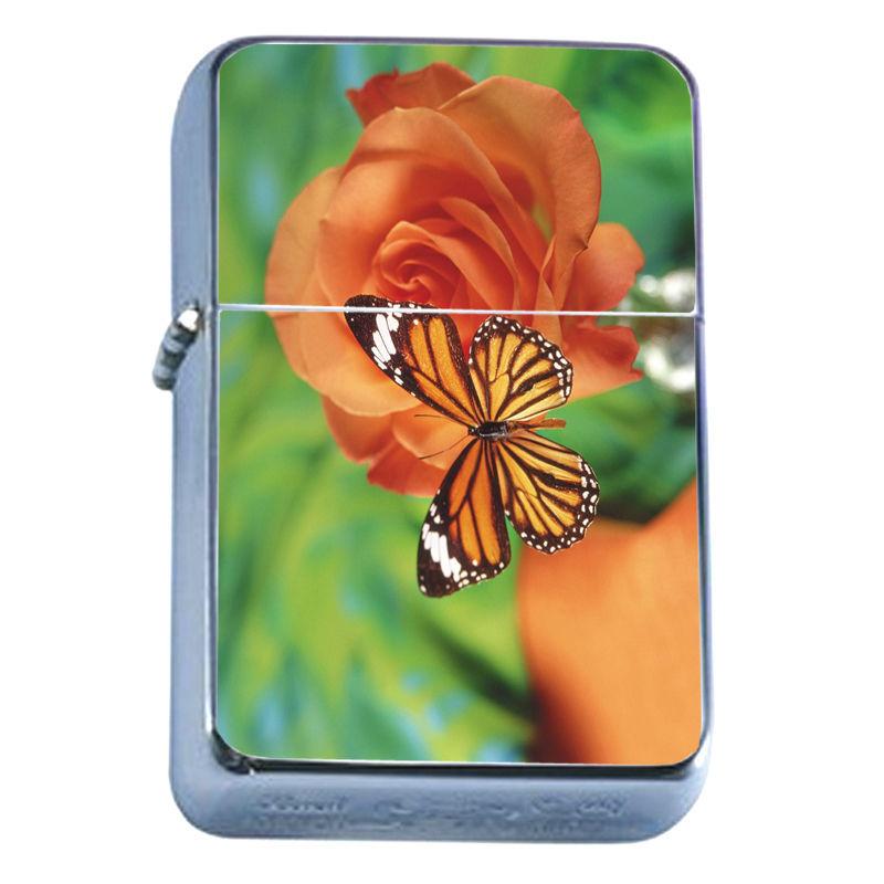 Windproof Refillable Flip Top Oil Lighter Butterflies D1 Colorful Monarch