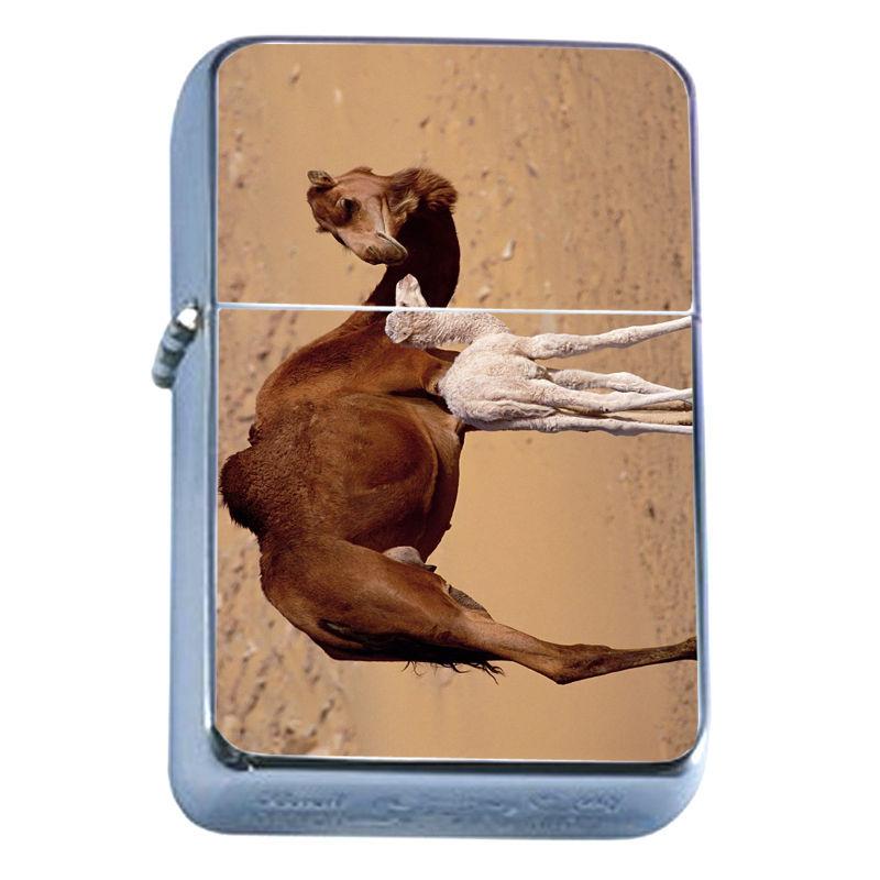 Windproof Refillable Flip Top Oil Lighter Camel D2 Hump Back Desert Animal