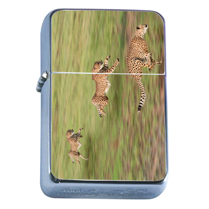 Windproof Refillable Flip Top Oil Lighter Cheetah D2 Feline African Savannah