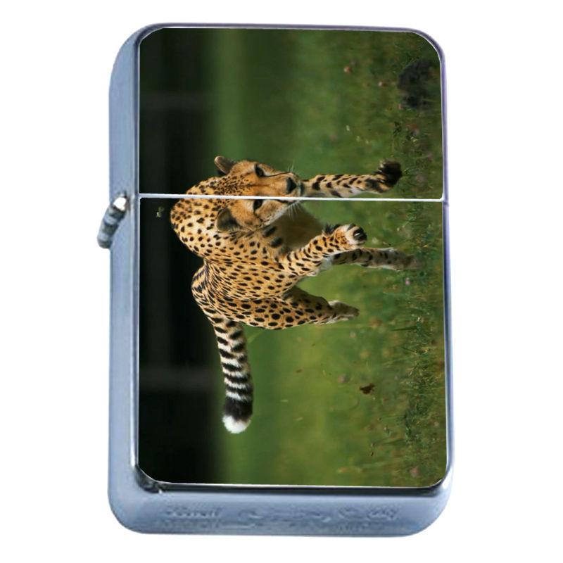 Windproof Refillable Flip Top Oil Lighter Cheetah D1 Feline African Savannah
