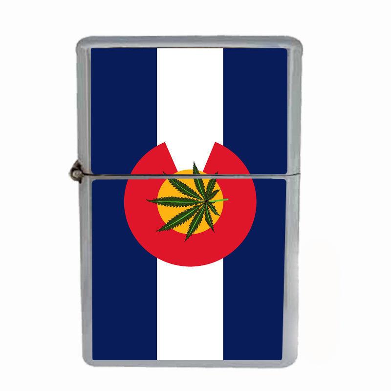 Windproof Refillable Flip Top Oil Lighter Colorado Flag D5 420 State Denver
