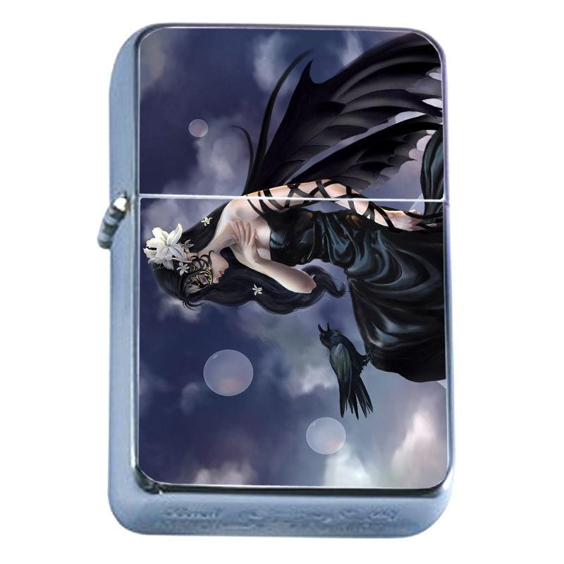 Windproof Refillable Flip Top Oil Lighter Crow D4 Goth Dark Black Bird Raven