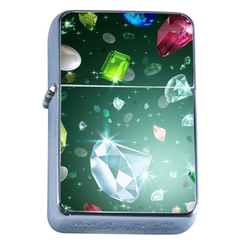 Windproof Refillable Flip Top Oil Lighter Diamond Scenes D1 Girl's Best Friend