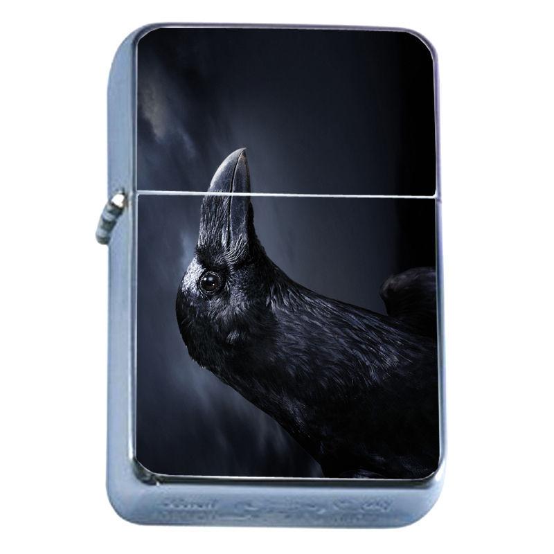 Windproof Refillable Flip Top Oil Lighter Crow D8 Goth Dark Black Bird Raven