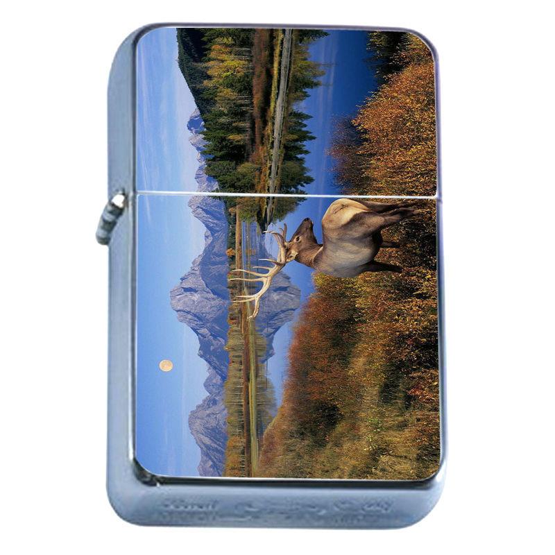 Windproof Refillable Flip Top Oil Lighter Deer D5 Stag Horned Buck Forest Animal