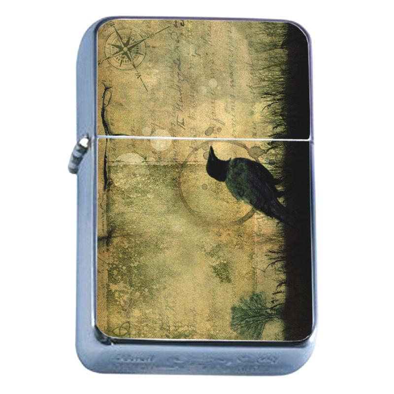 Windproof Refillable Flip Top Oil Lighter Crow D3 Goth Dark Black Bird Raven