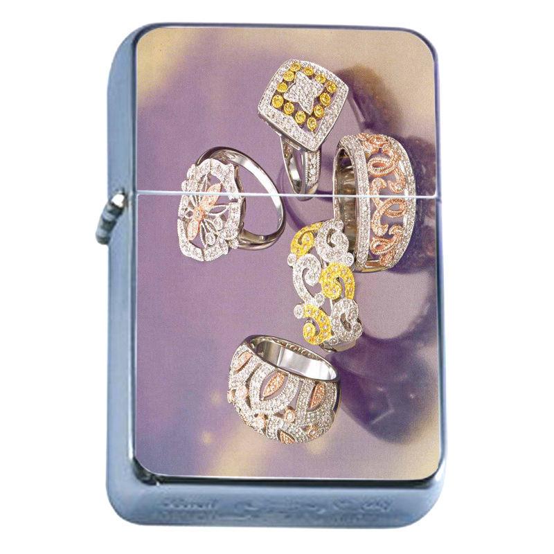 Windproof Refillable Flip Top Oil Lighter Diamond Scenes D7 Girl's Best Friend
