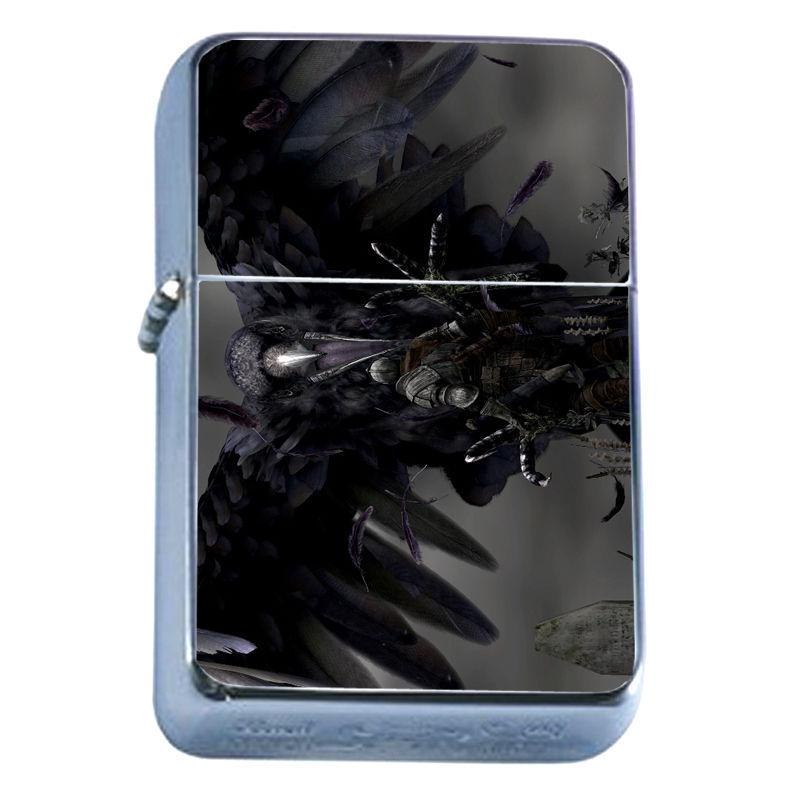 Windproof Refillable Flip Top Oil Lighter Crow D9 Goth Dark Black Bird Raven