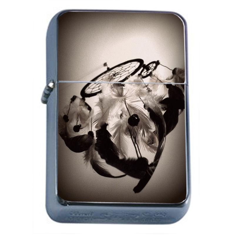 Windproof Refillable Flip Top Oil Lighter Dreamcatcher D7 Snare Spider Web