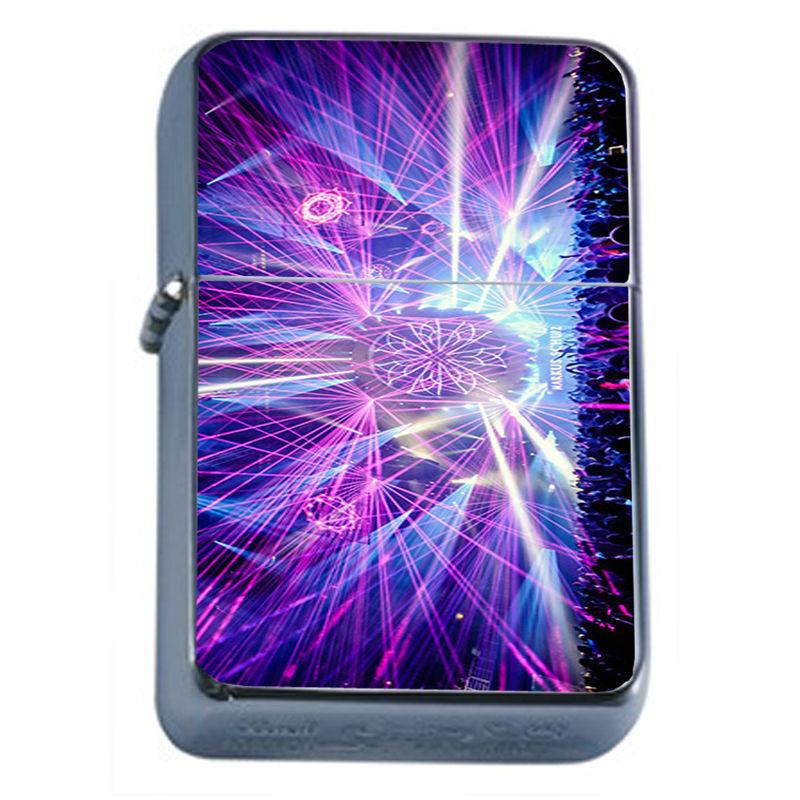 Windproof Refillable Flip Top Oil Lighter EDM D8 Electronic Dance Music Rave