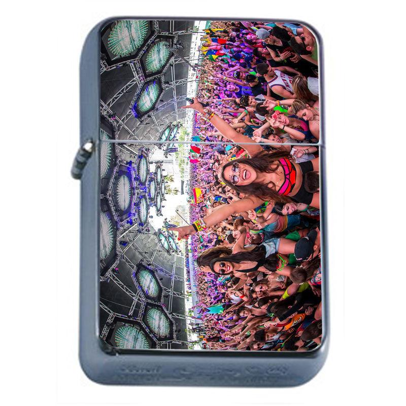Windproof Refillable Flip Top Oil Lighter EDM D5 Electronic Dance Music Rave