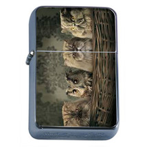 Windproof Refillable Flip Top Oil Lighter Funny Cat D2 Silly Kitten Cute - $8.86