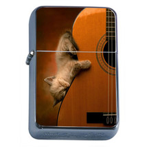 Windproof Refillable Flip Top Oil Lighter Funny Cat D14 Silly Kitten Cute - $8.86