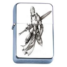 Windproof Refillable Flip Top Oil Lighter Knight D5 Christian Warrior Chivalry - $8.86