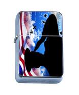 Windproof Refillable Flip Top Oil Lighter Memorial Day D5 American Heros... - $8.86