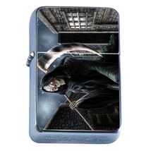 Windproof Refillable Flip Top Oil Lighter The Reaper D5 Scary Frightenting Death - $8.86