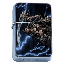 Windproof Refillable Flip Top Oil Lighter The Reaper D2 Scary Frightenting Death - $8.86
