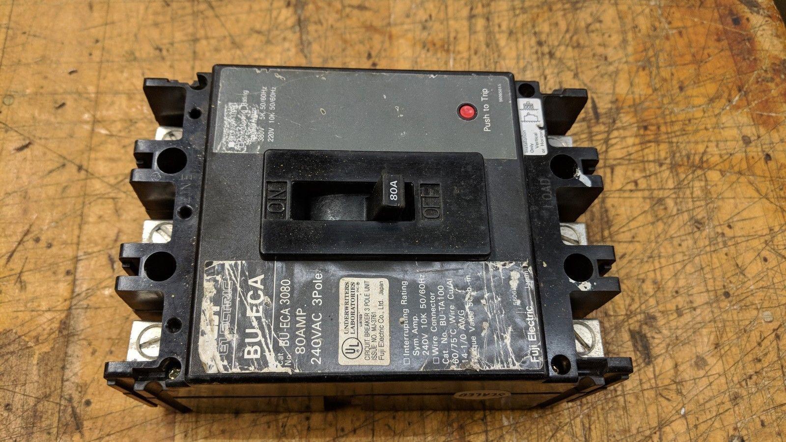FUJI BU-ECA3080 3 POLE 80 AMP CIRCUIT BREAKER 240v