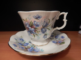 Royal Albert Blue flowers cup and saucer Free Shipping England #133 - $32.45