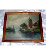 ANTIQUE A. VON HOUSTEN OIL PAINTING - Holland Windmills - $175.00