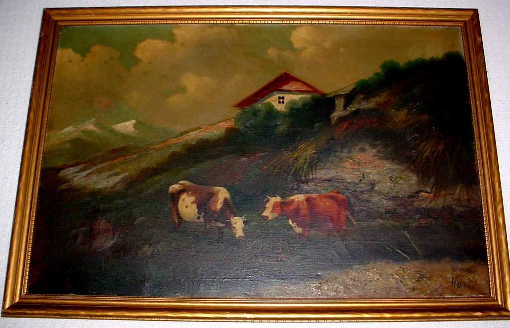 COWS IN PASTURE OIL PAINTING - James McDougal Hart ?