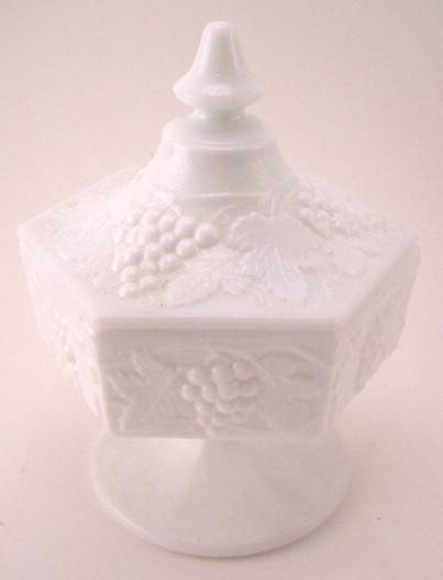 IMPERIAL MILK GLASS CANDY JAR WITH LID - Grapes & Vines