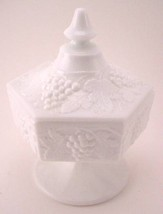 IMPERIAL MILK GLASS CANDY JAR WITH LID - Grapes & Vines - $20.00