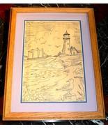 LIGHTHOUSE & WINDJAMMER FRAMED ORIGINAL ART - Max Ashburn, Maine Artist - $50.00
