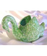 VINTAGE MARBLED GREEN SWAN CERAMIC PLANTER - $45.00