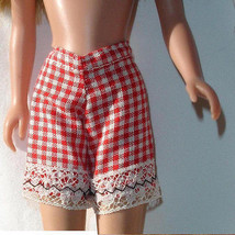 Skipper doll clothes vintage red and white checked shorts or short under... - $7.99