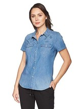 NEW Womens Levi's Western Short Sleeve Embroidered Palm Trees Size M MSRP $49.50 - $30.00