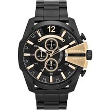 Diesel DZ4338 Mega Chief Black IP with Gold Accents Mens Watch - $150.50 CAD