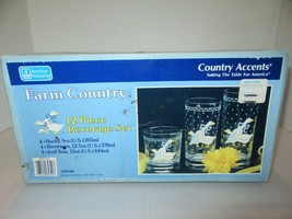 NOS Anchor Hocking Farm Country 12 Piece Beverage Set-GEESE-New Sealed Box - $99.95