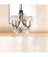 French Country Chic Shabby Black Iron Gems Chandelier with Mini Bell Sil... - $183.15