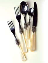 Stunning & Elegant Pearled Stainless Steel Flatwate 5 Piece Set  Made in... - $54.45
