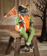 Adorable Resin Pressed Paper Halloween Black Cat  Figurine,13'' x 7''. - $49.50