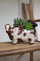 Hand Crafted Brown And White Cow Ceramic Planter.12'' x 7''H. - ₨5,360.25 INR