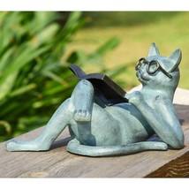 Reading Cat Whimsical Literary Kitten Feline Garden Sculpture Statue,18.... - $128.70
