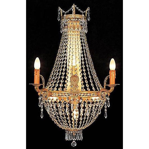 Hollywood Regency Gilt Iron Crystal Chandelier Wall Fixture Sconce, 29''H.