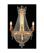 Hollywood Regency Gilt Iron Crystal Chandelier Wall Fixture Sconce, 29''H. - $490.05